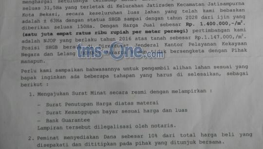 Tanah di jual di daerah Kelurahan jatiraden kecamatan jatisampurna Bekasi Luas 31 hektar dengan harga 1,4 jt/m2